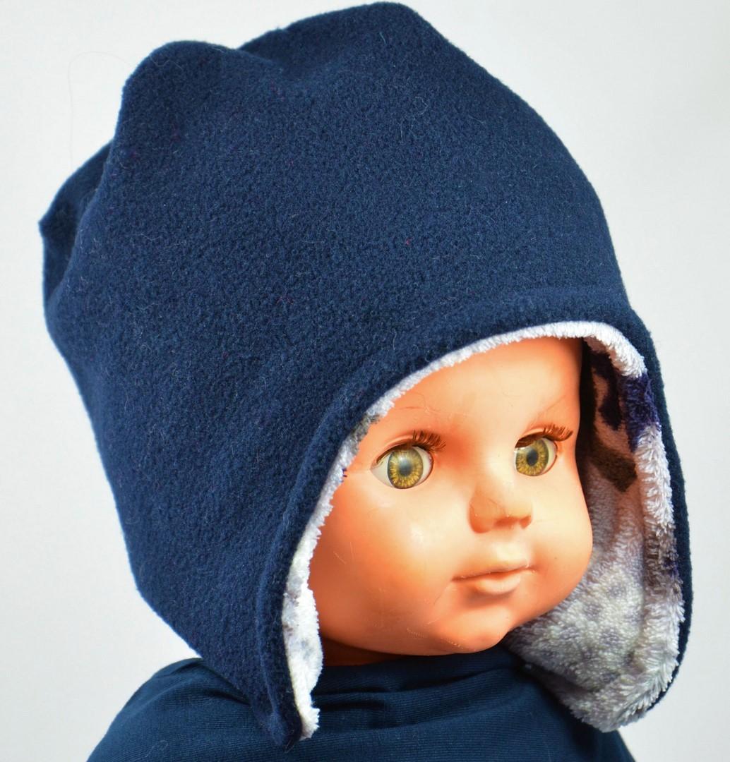 bonnet peruvien polaire bleu marine garcon reversible
