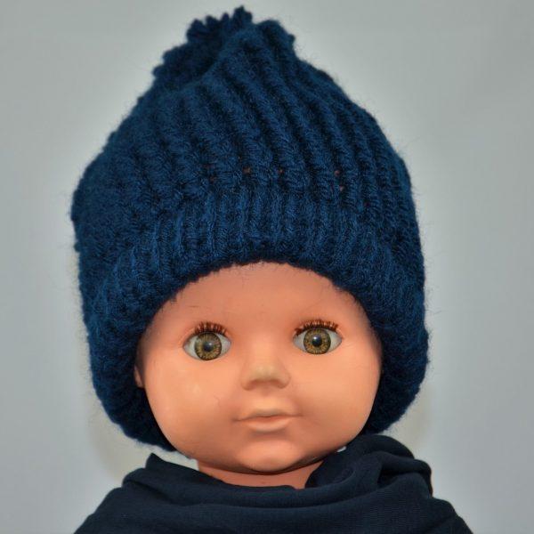 bonnet tricoté laine bleu marine pompon garcon