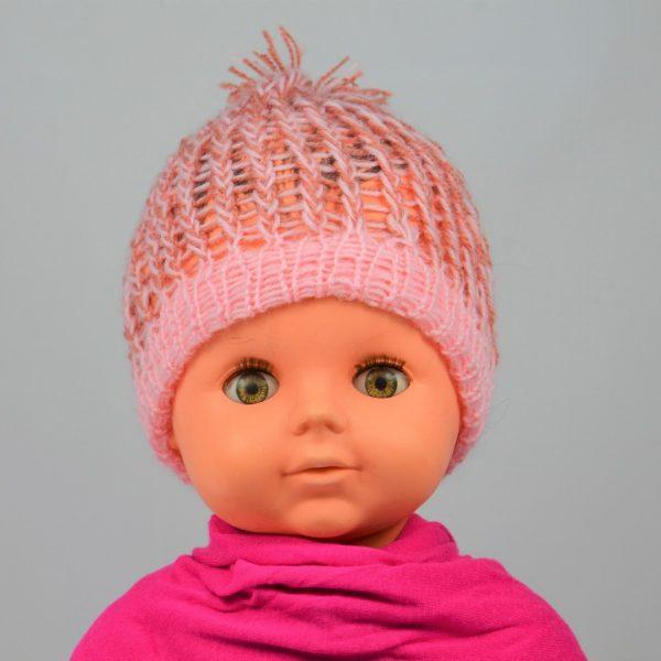 bonnet tricoté main laine rose pale fillette