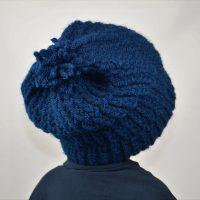 bonnet tricote main laine bleu marine hiver garcon