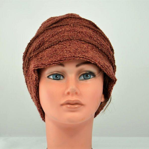 toque bonnet bouclette rouille femme hiver élégant